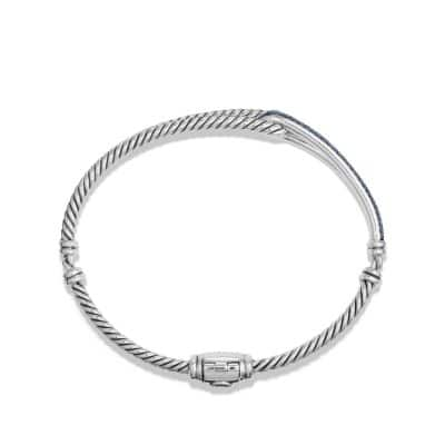 Petite Pavé Labyrinth Single-Loop Bracelet with Blue Sapphires, 7mm