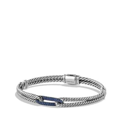 Petite Pavé Mini Loop Bracelet with Blue Sapphires, 6mm