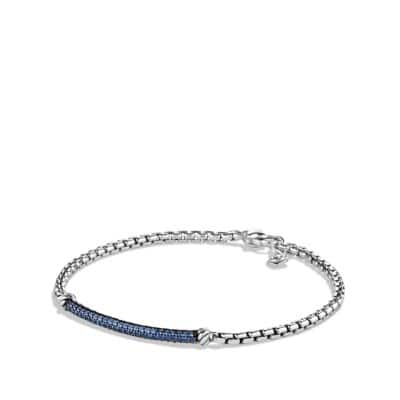 Petite Pavé Bar Bracelet with Blue Sapphires