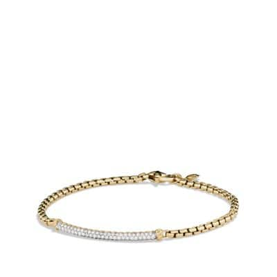 Petite Pavé Bar Metro Bracelet with Diamonds in Gold