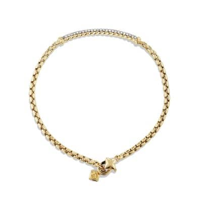 Petite Pavé Bar Metro Bracelet with Diamonds in 18K Gold, 3mm