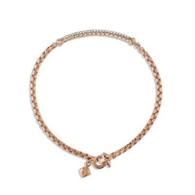 Petite Pavé Bar Metro Bracelet with Diamonds in 18K Rose Gold, 3mm