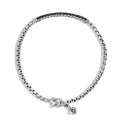 Petite Pavé Bar Bracelet with Black Diamonds, 3mm