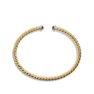 Cable Spira Bracelet with Blue Sapphires in 18K Gold, 4mm