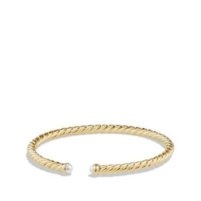 Cable Spira Bracelet with Pearls in 18K Gold, 4mm