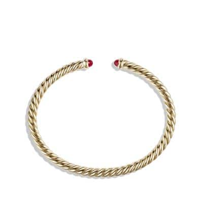 Cable Spira Bracelet with Rubies in 18K Gold