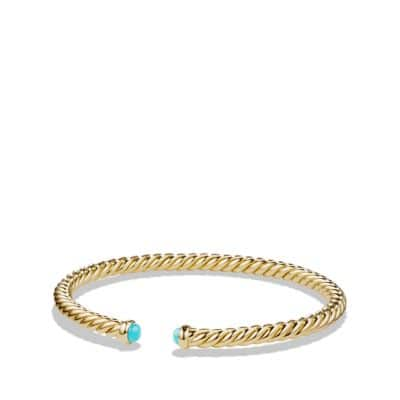 Cable Spira Bracelet with Turquoise in 18K Gold, 4mm