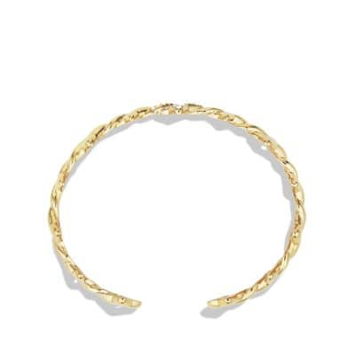 Venetian Quatrefoil® Single-Row Cuff Bracelet with Diamonds in 18K Gold, 9mm