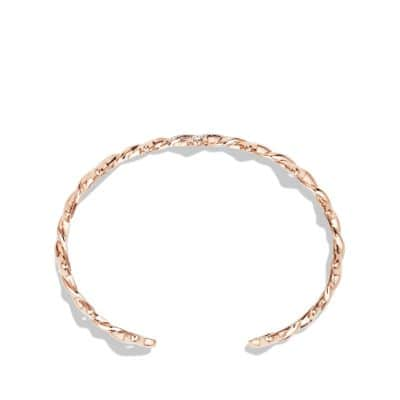 Venetian Quatrefoil Single-Row Cuff Bracelet with Diamonds in 18K Rose Gold, 9mm