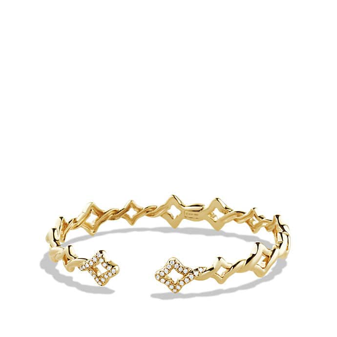 Venetian Quatrefoil Single-Row Cuff Bracelet with Diamonds in 18K Gold, 9mm