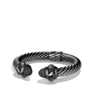 Cable Bracelet with Black Diamonds, 10mm