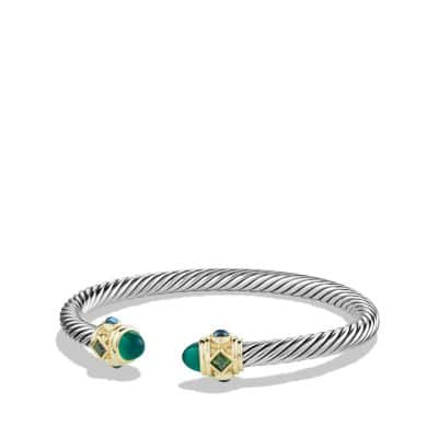 Bracelet with Green Onyx, Chrome Diopside, Hampton Blue Topaz and 14K Gold