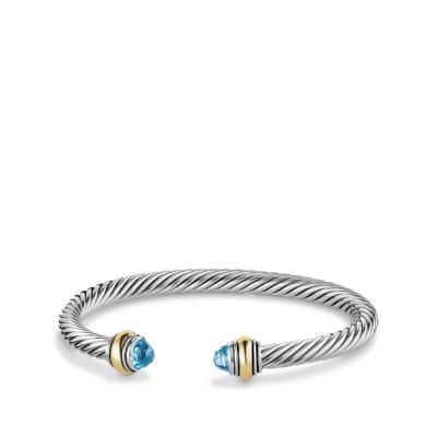 Cable Classic Bracelet with Blue Topaz and 14K Gold, 5mm thumbnail