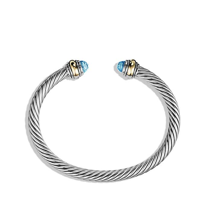 Cable Classic Bracelet with Blue Topaz and 14K Gold, 5mm
