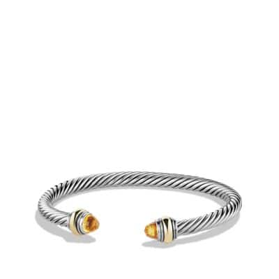 Cable Classic Bracelet with Citrine and 14K Gold, 5mm