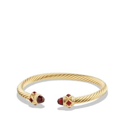 Renaissance Bracelet with Garnet in 18K Gold, 5mm