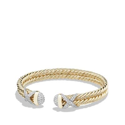 Cable Wrap Bracelet with Diamonds in 18K Yellow Gold