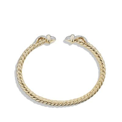 Cable Wrap Bracelet with Diamonds in 18K Gold, 8mm