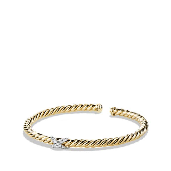 X Cablespira Bracelet with Diamonds in 18K Gold, 4mm