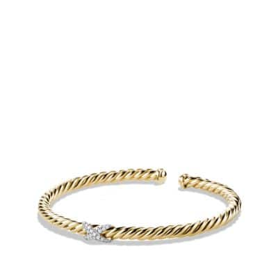 X Cablespira Bracelet with Diamonds in 18K Gold, 4mm thumbnail