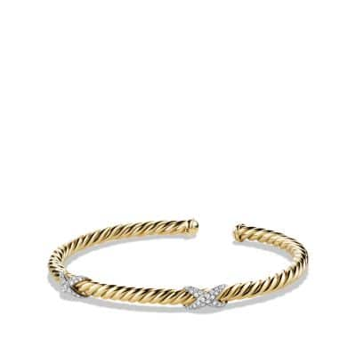 X Bracelet with Diamonds in 18K Gold