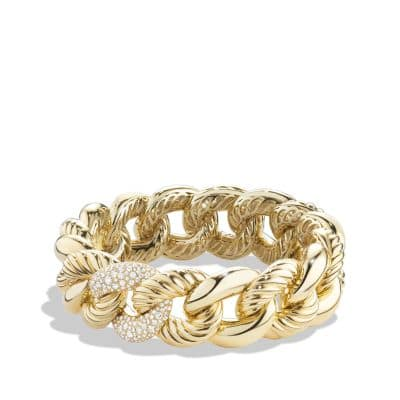 Belmont® Curb Link Bracelet with Diamonds in 18K Gold, 18mm