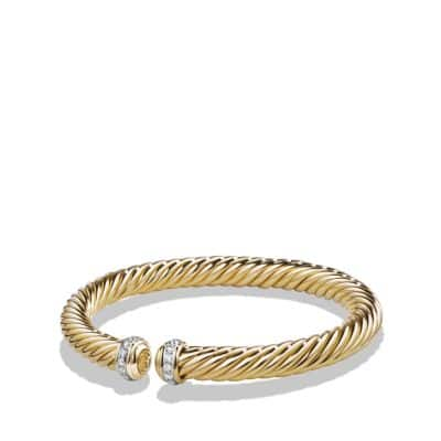 Cable Spira Bracelet with Diamonds in 18K Gold, 7mm