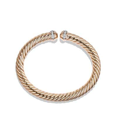 Cable Spira Bracelet with Diamonds in 18K Rose Gold
