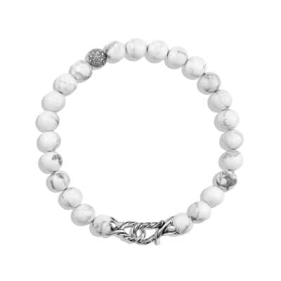 Spiritual Beads Bracelet with Howlite and Diamonds