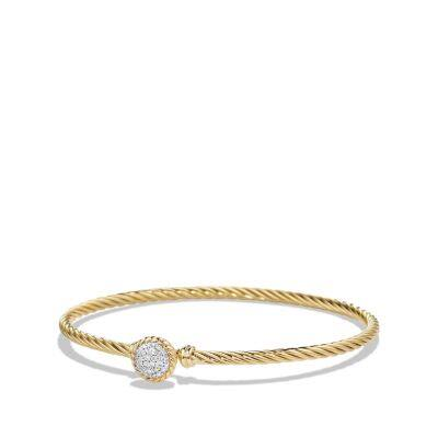 Petite Pave Bracelet with Diamonds in 18K Gold, 3mm thumbnail