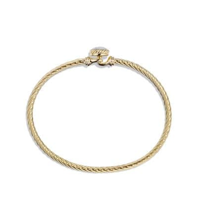Petite Pave Bracelet with Diamonds in 18K Gold, 3mm