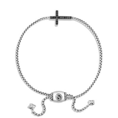 Pave Cross Bracelet with Black Diamonds