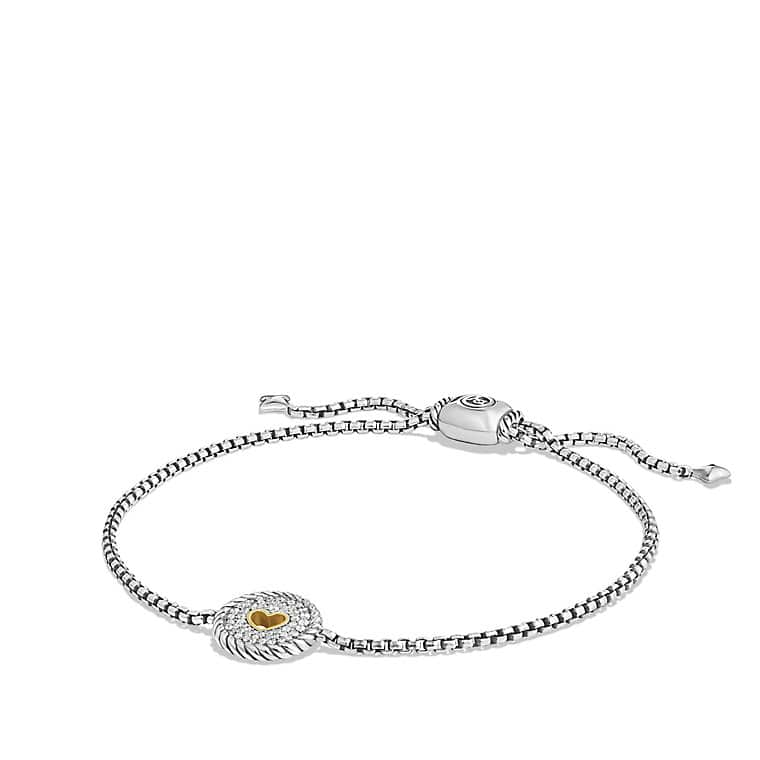 Collectibles Heart Charm Bracelet with Diamonds with 18K Gold