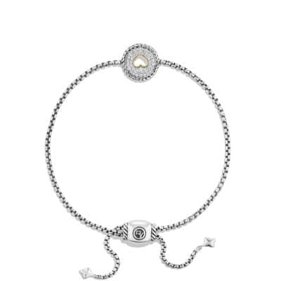 Heart Charm Bracelet with Diamonds with 18K Gold