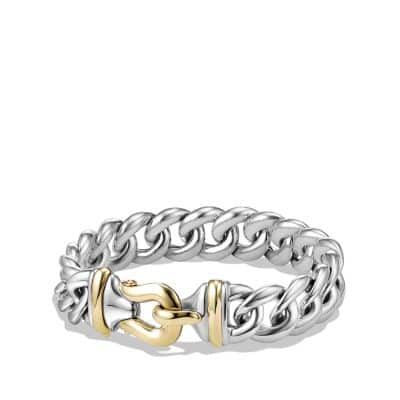 Buckle Bracelet in Silver and 14K Gold, 14mm