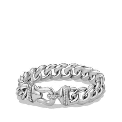 Buckle Bracelet with Diamonds in Silver, 14mm