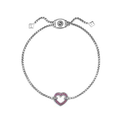 Cable Collectibles Heart Station Bracelet with Pink Sapphire