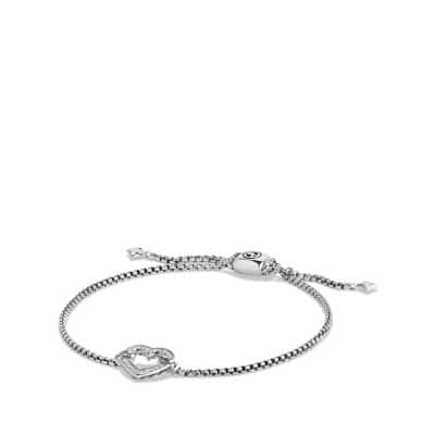 Heart Station Bracelet with Diamonds