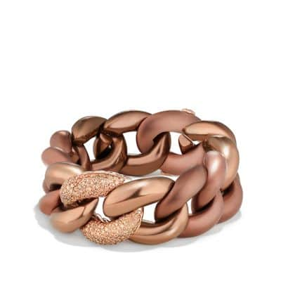 Belmont Curb Link Bracelet with Cognac Diamonds in Titanium with an Accent of 18K Rose Gold