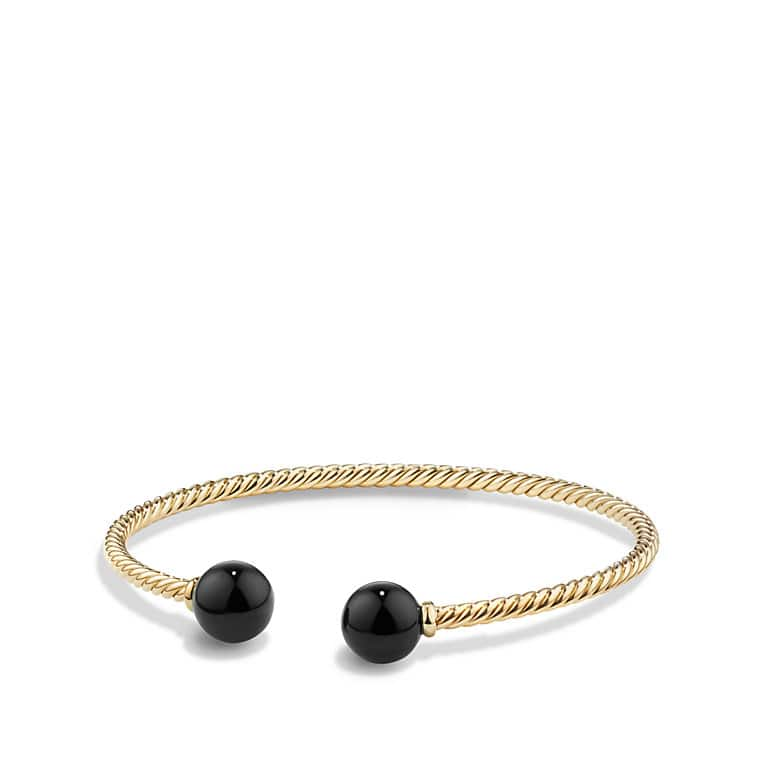 Solari Bead Bracelet with Black Onyx in 18K Gold