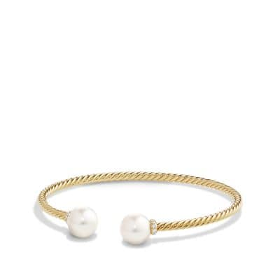 Solari Bead Bracelet with Diamonds and Pearls in 18K Gold