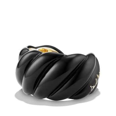 Black Resin Sculpted Cable Cuff Bracelet with 18K Gold