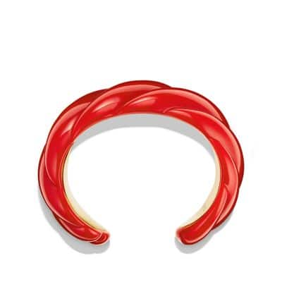 Red Resin Sculpted Cable Cuff Bracelet with 18K Gold