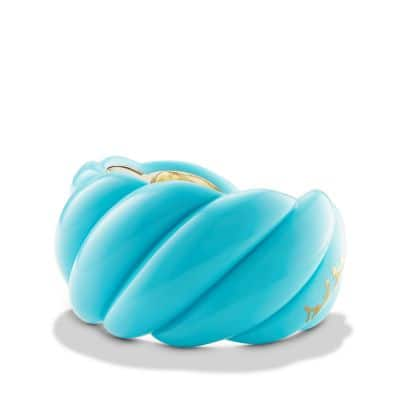 Turquoise Resin Sculpted Cable Cuff Bracelet with 18K Gold