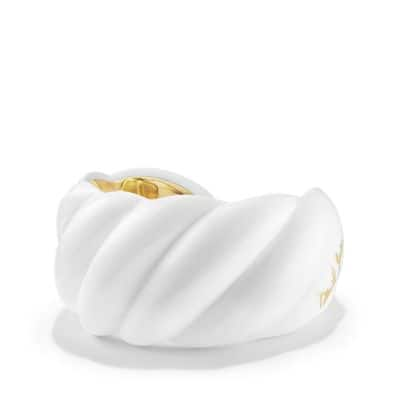 White Resin Sculpted Cable Cuff Bracelet with 18K Gold