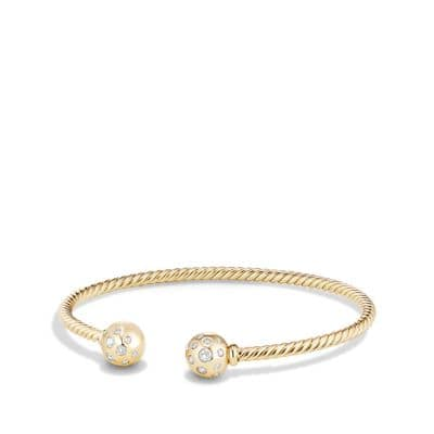 Solari Bead Bracelet with Diamonds in 18K Gold