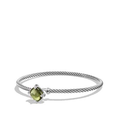Chatelaine Bracelet with Green Orchid and Diamonds, 9mm