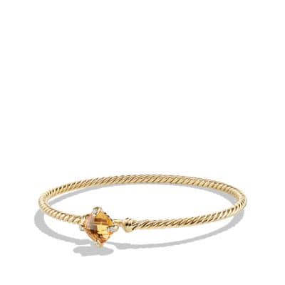 Châtelaine Bracelet with Citrine and Diamonds in 18K Gold, 8mm