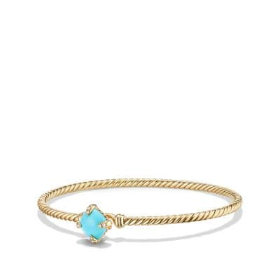 Châtelaine Bracelet with Turquoise and Diamonds in 18K Gold, 8mm