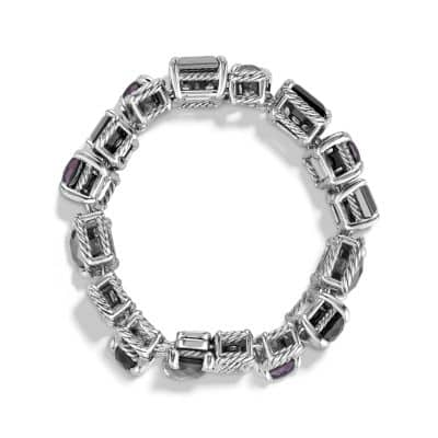 Chatelaine Pave Bezel Multi-Row Linked Bracelet with Blue Topaz, Black Orchid, Black Onyx and Diamonds